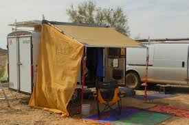 Enclosed Trailer Awning For Sale Cheap Rv Living Com Survivalist Vandweller Putting Up An Awning