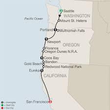 Pacific Crest Trail Washington Map by California Washington U0026 Oregon Tour Globus