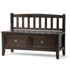 simpli home burlington entryway storage bench with drawers