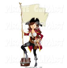 vector clip of a white pirate pinup with a
