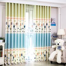 Green Kids Curtains Blue And Lime Green House Patterned Print Polyester Color Block