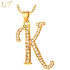 u7 new fashion capital initial letter k pendant charm gold silver
