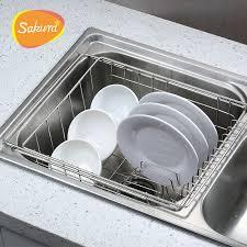Sakura Bowl Rack Shelf Retractable Sink Drain Basket Sink Dish - Kitchen sink plate drainer
