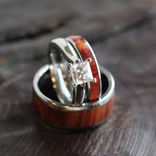 wooden wedding ring sets tulipwood wedding ring set moissanite engagement ring and two