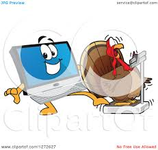 clipart of a happy pc computer mascot a shocked