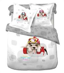 dog twin size 4 piece duvet cover sheet set bedding 100 cotton
