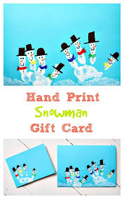 hand print snowman gift card christmas art and craft idea