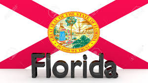 Floridas State Flag Writing With The Name Of The Us State Of Florida Made Dark Metal