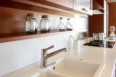 red wood kitchen white kitchen bench stock image image 17284233