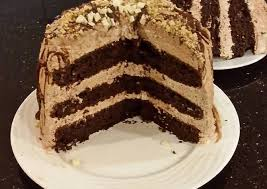 chocolate layer cake with whipped hazelnut cream filling and