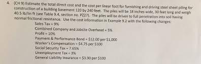 Steel Sheet Piling Cost Estimate by Estimate The Total Direct Cost And The Cost Per Li Chegg Com