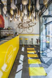 modern fast food restaurant interior design idea with bicycle