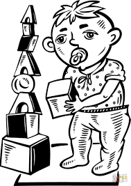 boy playing with toy blocks coloring page free printable