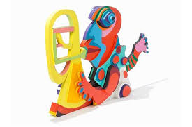 karel appel clown avec trompette painted wood 1978 painted
