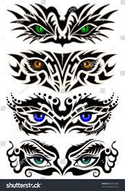 set abstract eyes tribal tattoo stock vector 96033848 shutterstock