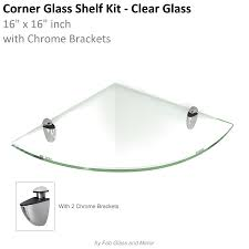 Brackets For Glass Shelves by Clear Floating Glass Shelves Corner 16x16 Inch W Brackets