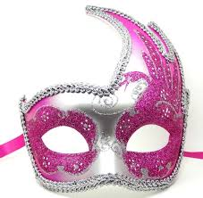 pink masquerade masks pink and silver swan detailed masquerade mask