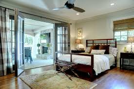 horizontal striped curtains in bedroom traditional with wooden bed