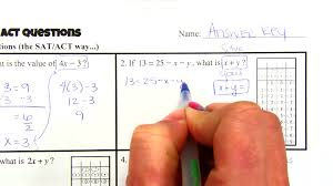 algebra sat act questions part 1 solving equations youtube