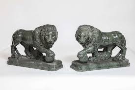 marble lions pair of large verde antico marble lions with orbs by pietro simoni