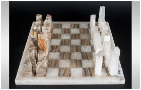 italian marble u0026 onyx chess set with matching chess board