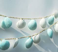 seashell garland beach wedding decorations blue and white sea