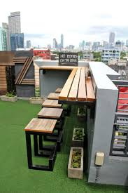 Roof Garden Of Penthouse At Evening Corner Architecture Single