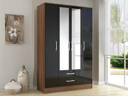 birlea flat packed lynx black gloss and walnut bedroom furniture