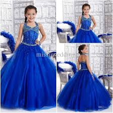 blue flowers for wedding royal blue flower girl wedding party dresses halter gown