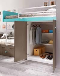 bureau superposé lit superposé fille avec bureau et rangement glicerio lit