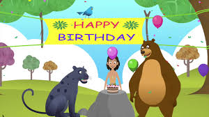 Jungle Birthday Card Happy Birthday Song By Jungle Book Animated Birthday Wishes Song