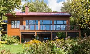 Chalet Style House by Contemporary Maibec Siding In Algonquin Amber 52 Color Just