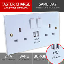 2 4a uk double socket usb 13a 2 gang port electric wall plug with