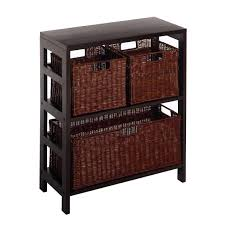 amazon com winsome wood leo wood 3 tier shelf with 3 rattan