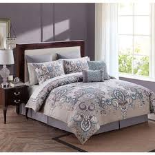 Bedroom Taupe Bedroom New Full Queen King Bed Bag 12 Pc Taupe Blue Gray Grey