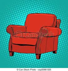 Red Armchair Vector Illustration Of Red Armchair Furniture Vector Pop Art Retro