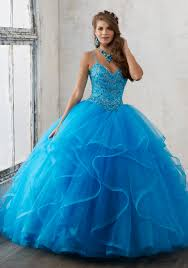 jeweled beading on a flounced tulle quinceañera ball gown morilee