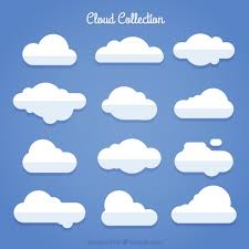 pack of white clouds in flat design vector free