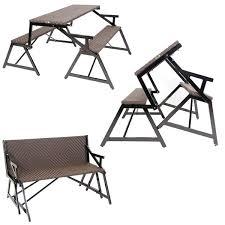 Convertible Picnic Table Bench Vero Outdoor Synthetic Rattan Bench Convertible Picnic Table