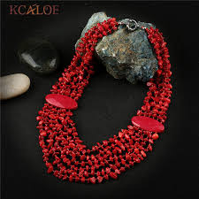 red necklace accessories images Kcaloe bohemia ethnic red necklace pendant multi layer irregular jpg