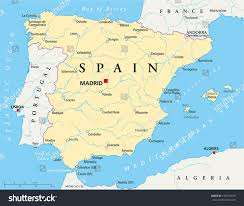 Spain Map Cities by Spain Political Map Capital Madrid National Stock Vector 196747679