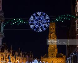 christmas street decorations and buildings bruges belgium stock