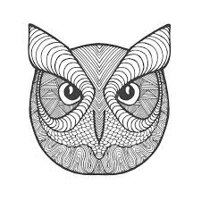 Patterned Flying Owl Drawing Illustration Eagle Owl Antistress Coloring Page Stock Vector