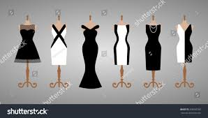 set 6 different cocktail evening woman stock vector 258365783