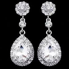 silver dangle earrings for prom drop earrings diamante bridal rhinestone silver