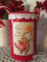 angel shabby chic retro tin can vase christmas decor kitschy