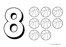8 numbers coloring pages for kids printable free digits coloring