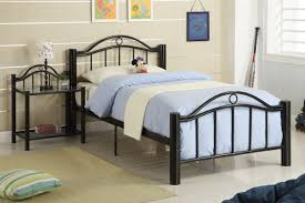 furniture black twin metal bed frame with blue blanket and white