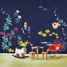 fun in the sun favorites wall decals and wallpaper simple shapes under the sea wall decals w1053 include fish sea plants jelly fish
