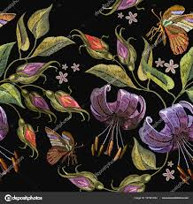 tiger lillies embroidery tiger lillies and butterfly seamless pattern stock